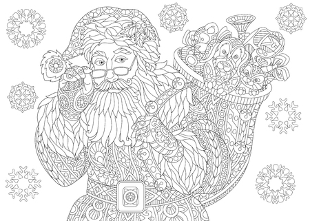 Coloring page of Santa Claus with full bag of holiday gifts. Christmas vintage snowflakes. Freehand sketch drawing for 2018 Happy New Year greeting card or adult antistress coloring book. Ilustração