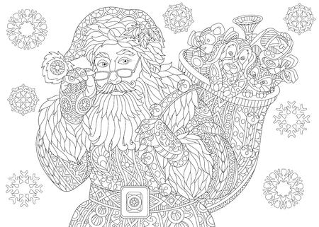 Página para colorear de Santa Claus con bolsa llena de regalos de vacaciones. Copos de nieve vintage de Navidad. Dibujo de bosquejo a mano alzada para la tarjeta de felicitación de feliz año nuevo 2018 o libro de colorear antiestrés para adultos. Ilustración de vector