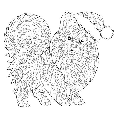 Dibujo para colorear de pomerania, símbolo de perro de 2018 año nuevo chino. Dibujo de bosquejo a mano alzada para la tarjeta de felicitación de la Feliz Navidad o el libro de colorear antiesfuerzo adulto con los elementos del garabato y del zentangle.