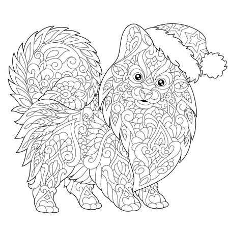 Coloring page of pomeranian, dog symbol of 2018 Chinese New Year. Freehand sketch drawing for Merry Christmas greeting card or adult antistress coloring book with doodle and zentangle elements. Illustration