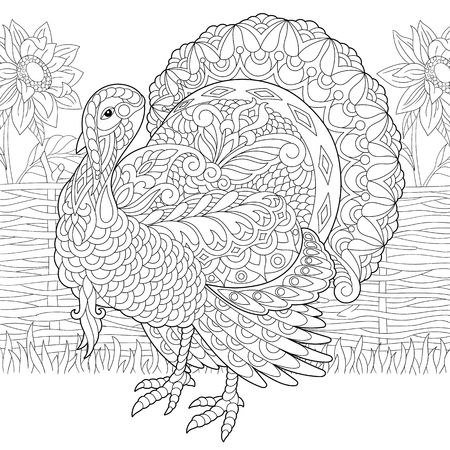 Coloring page of turkey and sunflowers on the farm yard. Freehand sketch drawing for Thanksgiving Day greeting card or adult antistress coloring book. Ilustração