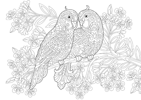 Coloring page of two parrots in love and floral background with flowers. Freehand sketch drawing for Valentines Day vintage greeting card or adult antistress coloring book.