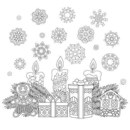 Decoraciones De Navidad. Página Para Colorear De Elementos De ...