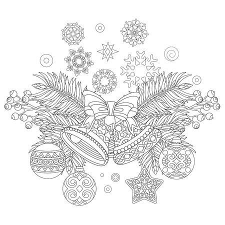 Página Para Colorear De Navidad Con Adornos Navideños, Abeto ...