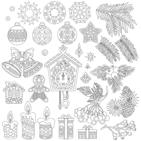 Christmas decorations. Coloring page of vintage retro decor elements. Collection of beautiful holiday ornaments for 2018 New Year greeting card or adult antistress coloring book in zentangle style.