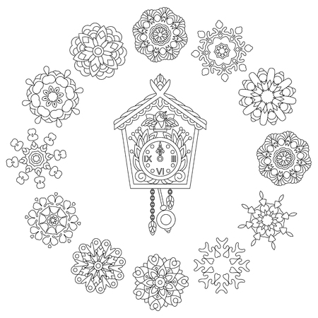 Christmas coloring page with Old antique wall clock and cuckoo bird singing and vintage winter snowflakes vector illustration Illustration