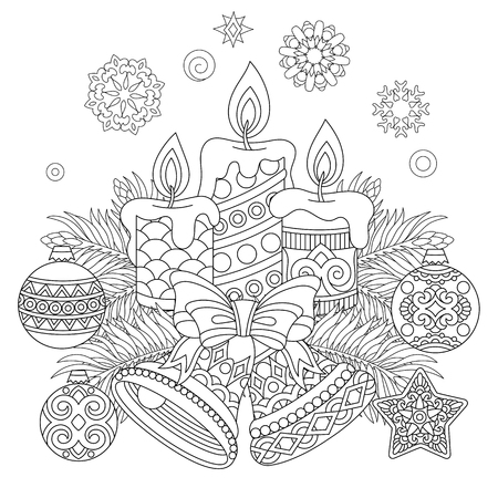 Christmas coloring page with Holiday decorations vector illustration Vettoriali