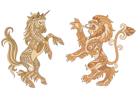 Heraldic unicorn and lion silhouettes in gold colors vector illustration