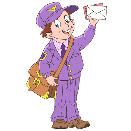 Cartoon boy mail man, postman. Colorful book page design for kids and children.