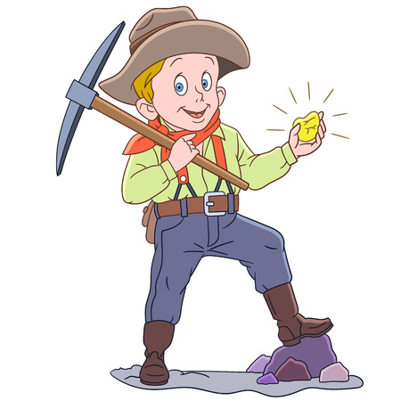 Cartoon gold miner, isolated on white background. Colorful book page design for kids and children.