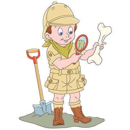 Cartoon archaeological explorer boy. Colorful book page design for kids and children. Illustration