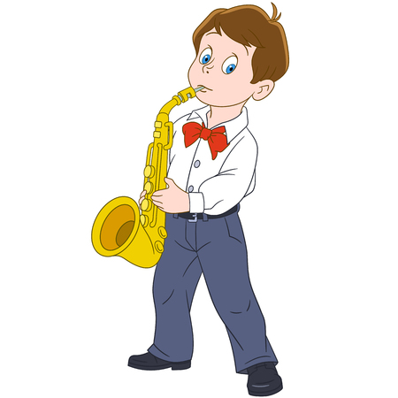 Cartoon boy playing saxophone music. Colorful book page design for kids and children.