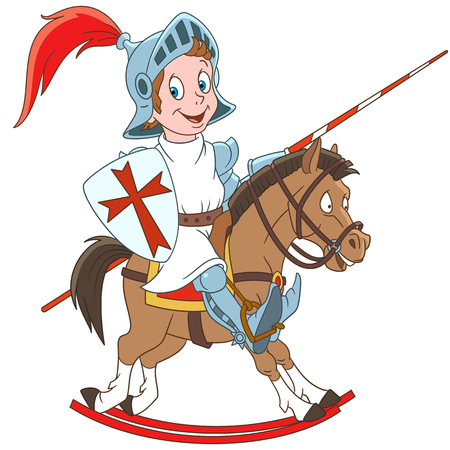 Cartoon medieval knight riding a horse. Colorful book page design for kids and children.