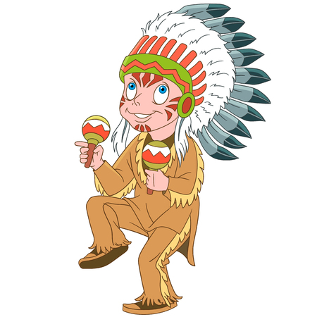 Cartoon carnival costume. Boy dressed as native american indian chief with maracas. Colorful book page design for kids and children.