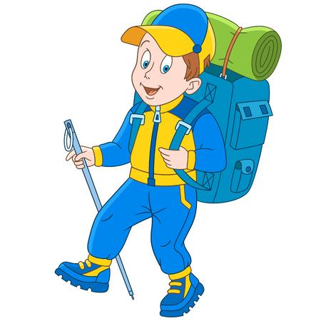 漫画ハイカー、登山者、白い背景で隔離。子供と子供のためのカラフルな本のページのデザイン。