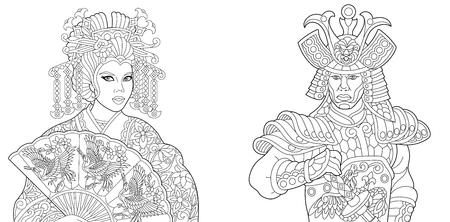 Coloring book. Coloring page. Geisha (oriental dancing actress) holding paper fan with crane birds. Japanese samurai with katana sword.