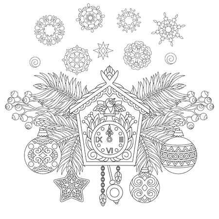 Christmas coloring page. Holiday hanging decorations and fir tree branches around wall cuckoo clock. Freehand sketch drawing for 2018 Happy New Year greeting card or adult antistress coloring book. Illustration