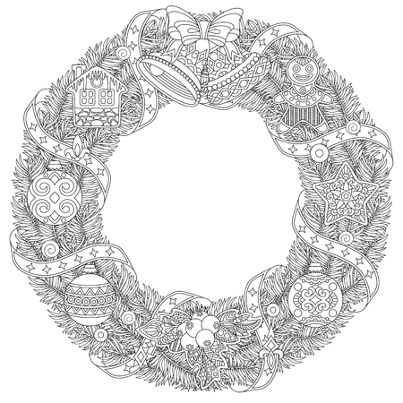 Christmas door wreath. Coloring page with holiday ornaments and decorations. Freehand sketch drawing for 2018 Happy New Year greeting card or adult antistress coloring book. Vettoriali