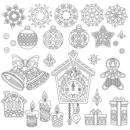 Christmas doodle ornaments. Coloring page with collection of holiday decorations for 2018 Happy New Year greeting card or adult antistress colouring book