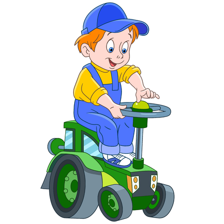 Cartoon boy driving a tractor, in colorful book page design for kids.