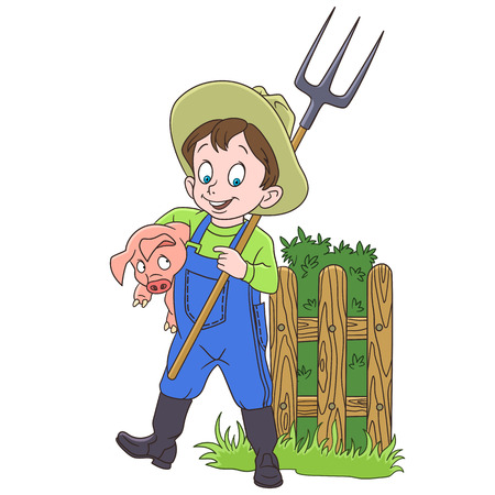 Cartoon agriculturist with a pitchfork and a pig, in colorful book page design for kids.