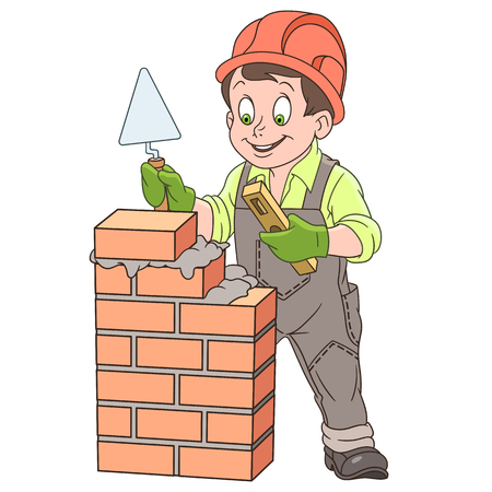Cartoon builder with trowel and level tool working around a brick wall in colorful book page design for kids.