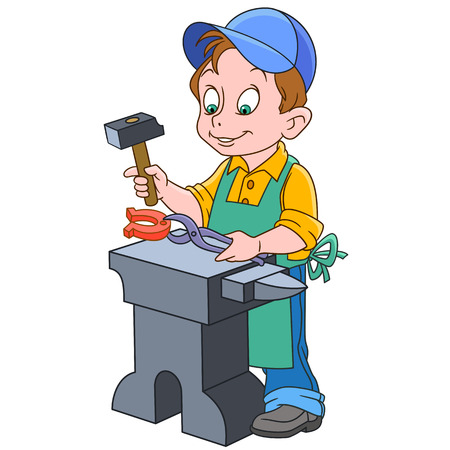 Cartoon blacksmith worker illustration.