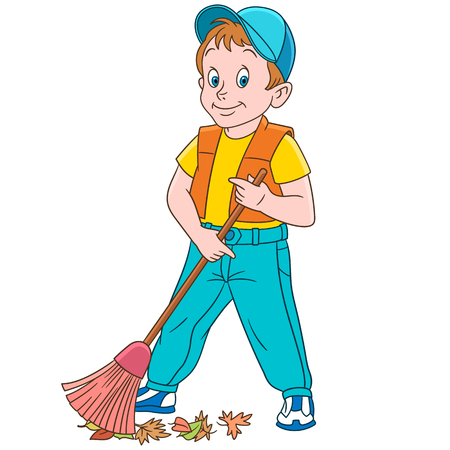 Cartoon street cleaner sweeping out autumn leaves. Stock Illustratie