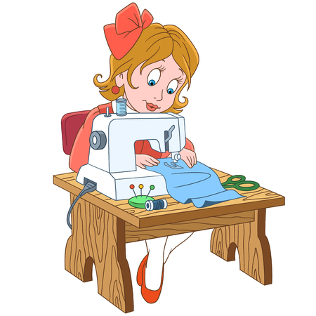 Cartoon seamstress working on electric sewing machine.