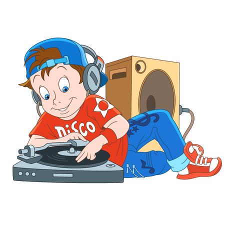 Cartoon disk-jockey illustration.