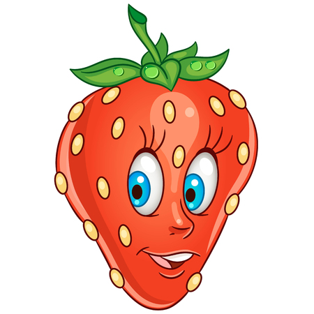 Cartoon Strawberry icon. Fruit character for children's coloring book, labels, patches or stickers.