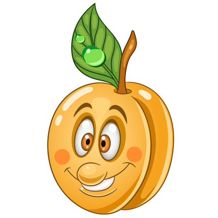 Cartoon Apricot icon. Fruit character for childrens coloring book, labels, patches or stickers. Illustration