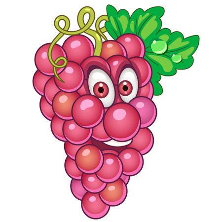 Cartoon Grapes icon. Fruit character for children's coloring book, labels, patches or stickers.