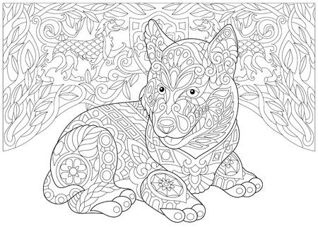 Página para colorear. Libro de colorear para adultos. Siberian Husky Puppy (Alaskan malamute). Escudo de armas con dos perros heráldicos. Dibujo a mano alzada con elementos de doodle.