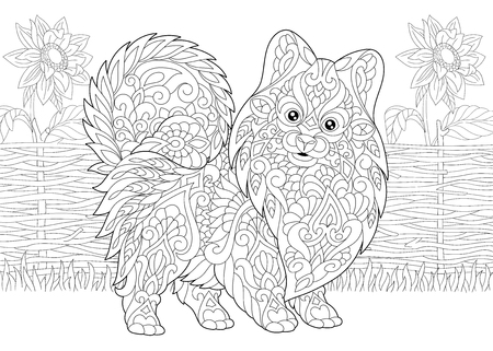Coloring Page. Adult Coloring Book. Pomeranian spitz, dog symbol of 2018 Chinese New Year. Rural scene with sunflowers. Anti stress freehand sketch drawing with doodle