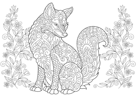 Coloring Page. Adult Coloring Book. Wild Fox and summer or spring Flowers. Anti stress freehand sketch drawing with doodle elements. Illustration