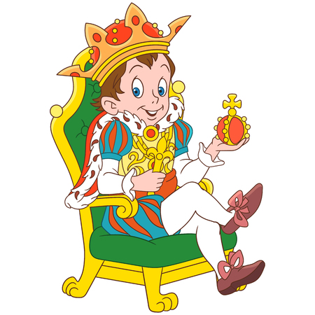 Cartoon young king or prince, isolated on white background. Colorful book page design for kids and children.