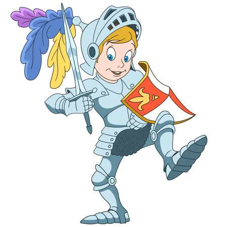 Cartoon knight with shield and sword, isolated on white background. Colorful book page design for kids and children. Illustration