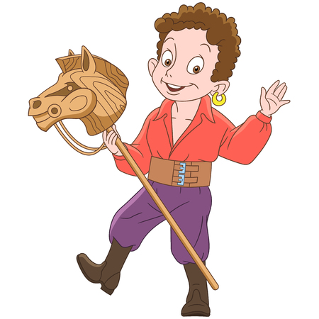 Cartoon gypsy boy riding his toy horse, isolated on white background. Colorful book page design for kids and children.