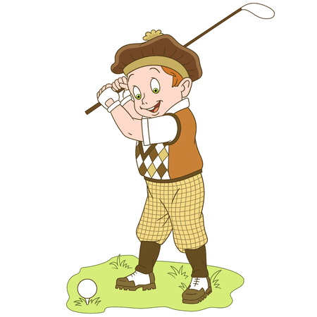 Cartoon golfer, golf player, isolated on white background. Colorful book page design for kids and children.