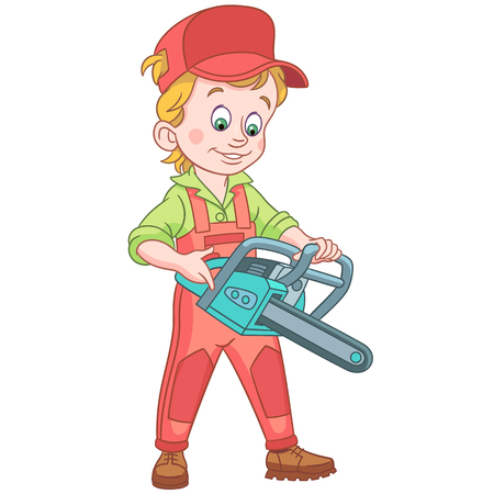Kids in Professions. Cartoon Lumberjack with petrol chain saw. Colorful book page design for children. Vectores