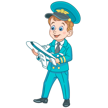 Niños en profesiones. Cartoon Airplane Pilot con avión de juguete. Diseño para libro de colorear para niños.