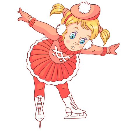 Kids Leisure Activities. Cartoon girl learning how to skate. Design for children's coloring book.