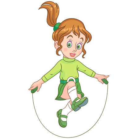 Kids Leisure Activities. Cartoon girl jumping with skipping rope. Design for children's coloring book.