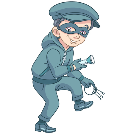 Kids in Professions. Cartoon criminal (thief) with house or bank keys and flashlight is running on tiptoe. Design for childrens coloring book.