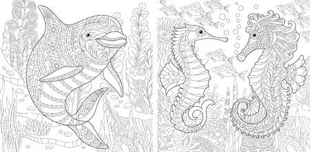 Kolorowanki. Kolorowanka dla dorosłych. Podwodny świat oceanu. Delfin wśród morskich wodorostów. Konik morski, ławica tropikalnych ryb. Kolekcja odręcznych szkiców antystresowych z elementami doodle i zentangle.