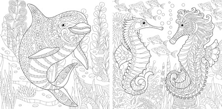 Coloring Page. Adult Coloring Book. Underwater Ocean world. Dolphin among marine seaweed. Sea horse, shoal of tropical fishes. Antistress freehand sketch collection with doodle and zentangle elements.