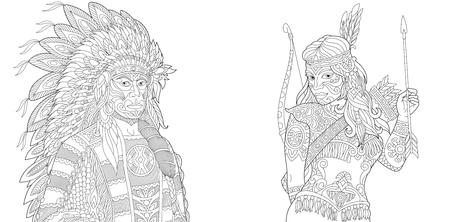 Native American Indian Chief and Apache Woman. Navajo ethnicity. Boho tribal culture. Antistress freehand sketch collection with doodle and zentangle elements.