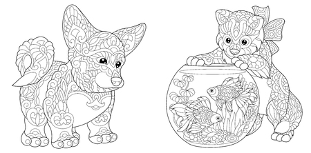 Cardigan Welsh Corgi Dog. Cat playing with Goldfish in Aquarium fish bowl. Antistress freehand sketch collection with doodle and zentangle elements.