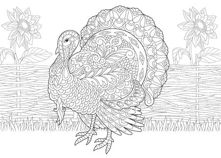 Turkey bird and sunflowers on the farm yard. Freehand sketch drawing for Thanksgiving Day greeting card with doodle and zentangle elements. Иллюстрация
